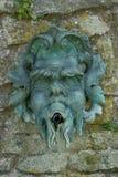 Detalj av den gamla greenmanmaskeringen på stenväggen royaltyfri bild