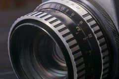 Detalj av den gamla parallella fotokameran Arkivbild