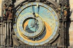 Detalj av den historiska medeltida astronomiska klockan i Prague på gammalt stadshus, Tjeckien Royaltyfria Foton
