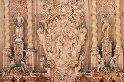Detalj av den Santa Prisca kyrkan i Taxco, Mexico arkivfoto