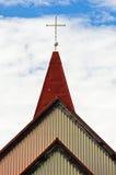Detalj av den traditionella icelandic träkyrkan i Grindavik Arkivbilder