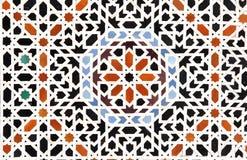 Detalj av den traditionella moroccan mosaikväggen, Marocko royaltyfri bild