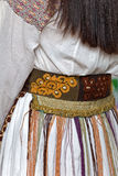 Detalj av den traditionella rumänska folkdräkten från Banat område, ROM-minne Arkivbilder