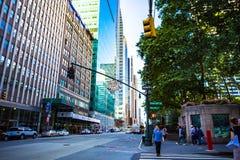 Detalj av den västra 40th gatan i Manhattan Fotografering för Bildbyråer