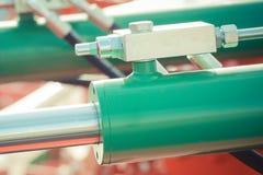 Detalj av det pneumatiska maskineri-, teknologi- och teknikbegreppet Arkivbild