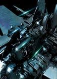 Detalj av det stora rymdskeppet royaltyfri bild