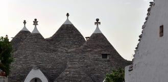 Detalj av det Trulli taket, de berömda stenbyggnaderna av Alberobello Puglia Arkivfoto