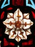 Detalj av det viktorianska målat glassfönstret som visar den vita blomman Royaltyfri Fotografi