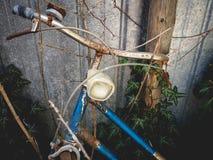 Detalj av en övergiven rostig cykel för gammal tappning med murgrönan på bakgrunden Royaltyfri Foto