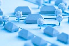 Detalj av en arkitektonisk modell av en by Royaltyfri Foto