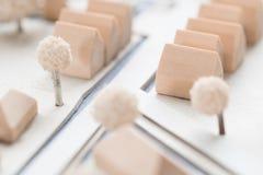 Detalj av en arkitektonisk modell av en by Fotografering för Bildbyråer