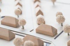 Detalj av en arkitektonisk modell av en by Arkivbild