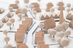 Detalj av en arkitektonisk modell av en by Royaltyfria Foton