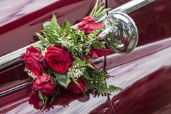 Detalj av en bröllopbil Arkivfoto