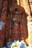 Detalj av en Chamtempel på min son, Vietnam Min sonChampa tempel och UNESCOvärldsarv förutom Hoi An i Vietnam, Sout Fotografering för Bildbyråer