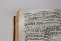 Detalj av en forntida italiensk bibel Arkivfoto