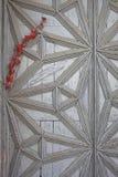 Detalj av en gammal dörr med en filial med lästa blad Fotografering för Bildbyråer