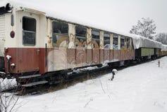 Detalj av en gammal järnväg bil Arkivfoto