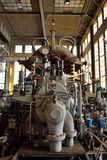Detalj av en gammal rostig maskin, fabrik arkivfoton