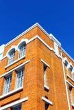 Detalj av en gammal tegelstenbyggnad på Lisbon Arkivfoto