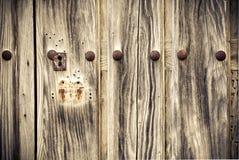 Detalj av en gammal trädörr Arkivfoto