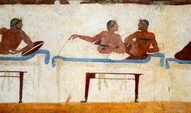 Detalj av en gammalgrekiskafreskomålning Royaltyfri Bild