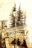 Detalj av en gatalampa i den gamla staden, blyertspennateckning, färgeffekt på abstrakt bakgrund Fotografering för Bildbyråer