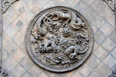Detalj av en kinesisk tempel på Pingyao den forntida staden, Kina royaltyfria foton