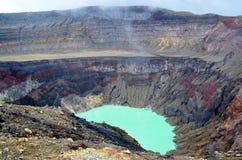 Detalj av en krater, Santa Ana vulkan Arkivfoton
