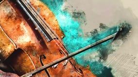 Detalj av en kvinna som spelar artprint för violoncellkonstmålning stock illustrationer
