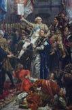 Detalj av en målning av Jan Matejko, polsk målare arkivbild