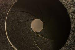 Detalj av en membran av en fotografisk lins Arkivbild