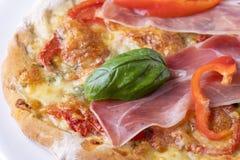 Detalj av en pizza arkivfoton
