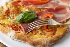 Detalj av en pizza royaltyfri bild