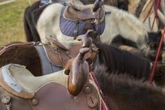 Detalj av en sadel för ponny med bakgrund Arkivfoto