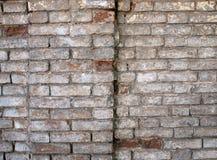 Detalj av en vägg av en gammal röd tegelsten med den vita beläggningen Royaltyfria Bilder