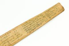 Detalj av ett bevarat palmbladmanuskript arkivbilder