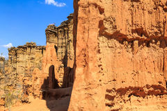 Detalj av ett eroderat pilar av sandsten Arkivbilder