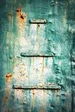 Detalj av ett gammalt grönt metallark Royaltyfri Foto