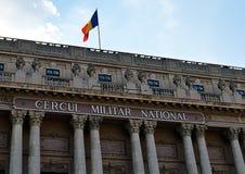 Detalj av fasaden av den militära klubban (Cercul Militar), Bucharest, R Arkivfoto