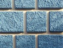 Detalj av fasaden med blåa fyrkanter Fotografering för Bildbyråer