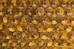 Detalj av flaskor från inre av vin som är callar av stor slovakisk producent. Royaltyfria Foton