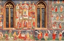 Detalj av freskomålningen av den Voronet kloster Royaltyfri Fotografi