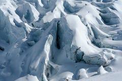 Detalj av glaciärflöde och sprickor som täckas vid insnöad vinter Fotografering för Bildbyråer