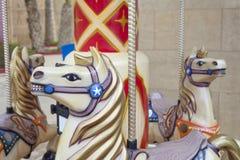 Detalj av hästar från en karusell Arkivfoton