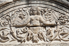 Detalj av Hadrians tempel, Ephesus, Turkiet Royaltyfri Fotografi