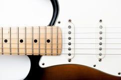 Detalj av halsen för elektrisk gitarr och kropp Arkivbilder