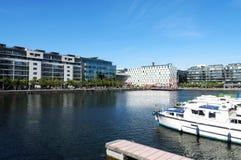 Detalj av hamnkvarterområdet av Dublin som presenterar den Bord Gais teatern Royaltyfri Bild