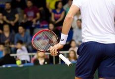 Detalj av handen och racket, Johnson Steve som spelar i matchen mot SERBIEN, Davis Cup 2018, Nis Royaltyfria Bilder