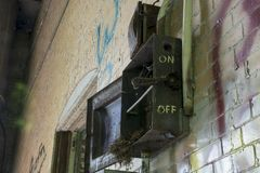 Detalj av historisk byggnad för lås 19 på Ohioet River royaltyfri fotografi